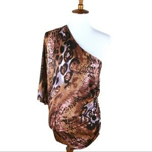 Arden B. Leopard Animal Print One Shoulder Dress